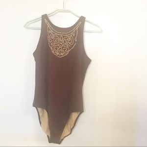 Newport News size 14 brown beaded swimsuit